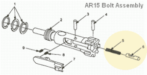 AR15 Bolt Assembly View
